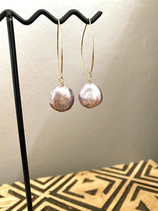 Lavender Coin Pearl earrings - 14k Gold filled