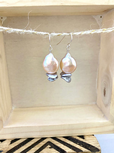 Pink and Grey Pearl Earrings