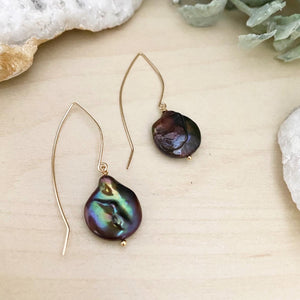 Black Freshwater Pearl Coin Earrings with Long Gold Fill ear wires