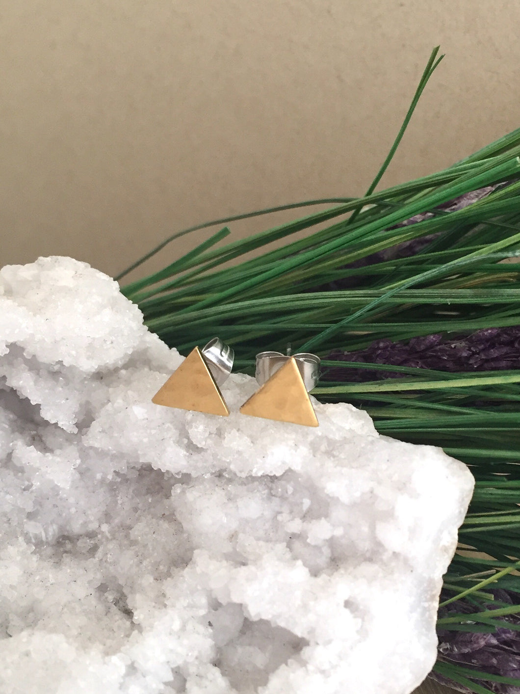 Triangle studs in brass with surgical steel posts