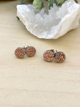 Load image into Gallery viewer, Rose Gold Druzy stud earrings on surgical steel posts