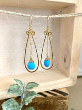 Load image into Gallery viewer, Turquoise and Brass Earrings -  Gold fill ear wires