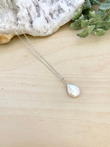 Small White Single Coin Pearl Necklace - Gold Fill or Sterling Silver