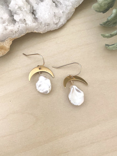 Pearl and gold crescent moon earrings - 14k gild filled ear wires