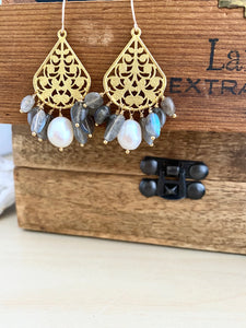 Pearl and Labradorite filigree earrings