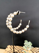 Load image into Gallery viewer, Freshwater Pearl Hoop earrings in Sterling Silver