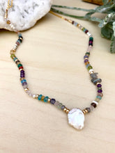Load image into Gallery viewer, Confetti Colourful Pearl and Gemstone Statement Necklace - Adjustable 16 to 18 inches