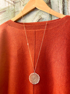 Wire Crochet Sunshine Necklace with Freshwater Pearls - Lacy Pendant Necklace with Pearl detailing