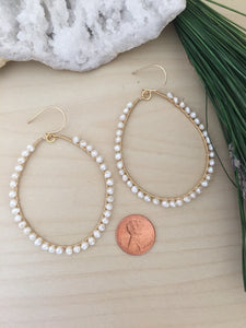 Wire Wrapped Gold Fill Freshwater Pearl Hoop Earrings