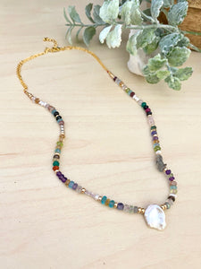 Confetti Colourful Pearl and Gemstone Statement Necklace - Adjustable 16 to 18 inches