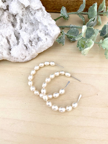 Freshwater Pearl Hoop earrings in Sterling Silver