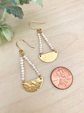 Load image into Gallery viewer, Pearl and Brass Half Moon Earrings
