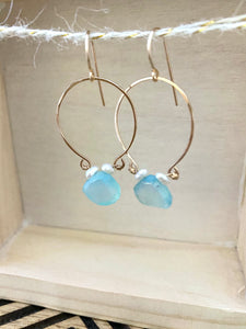 Aqua Blue Chalcedony and Pearl Inverted Hoop earrings - Gold fill