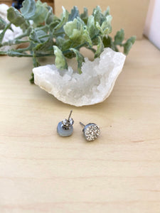 Silver Druzy stud earrings on surgical steel posts