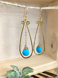 Turquoise and Brass Earrings -  Gold fill ear wires