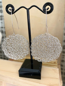 Wire Crochet Sterling Silver Nadia Earrings with long ear wires - Sterling Silver