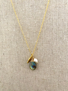 Labradorite necklace with heart and freshwater pearl charm