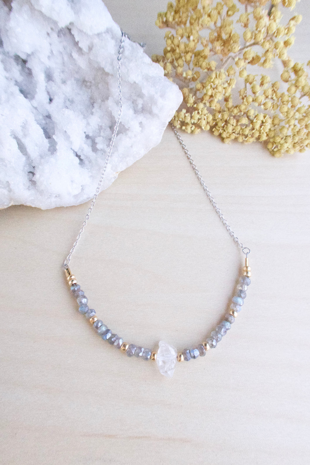 Labradorite and Herkimer Diamond Necklace