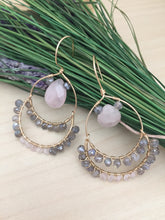 Load image into Gallery viewer, Labradorite and Rose Quartz wire wrapped on Gold Fill Hoops