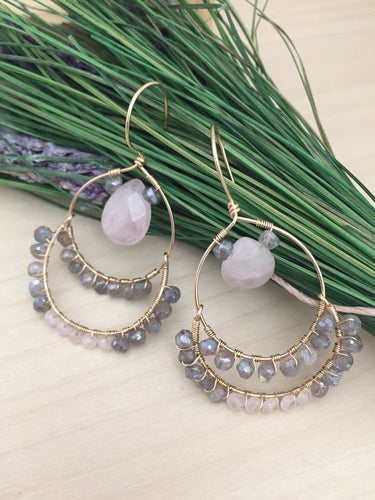 Labradorite and Rose Quartz wire wrapped on Gold Fill Hoops