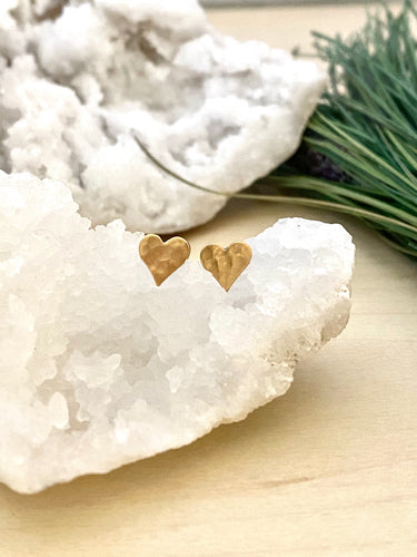 Gold Heart studs - Textured Brass Earrings on Surgical Steel posts