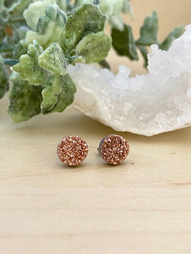 Rose Gold Druzy stud earrings on surgical steel posts