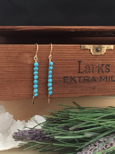 Verticle turquoise bar earrings on 14 k gold fill ear wires and wire
