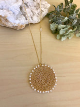 Load image into Gallery viewer, Wire Crochet Sunshine Necklace with Freshwater Pearls - Lacy Pendant Necklace with Pearl detailing
