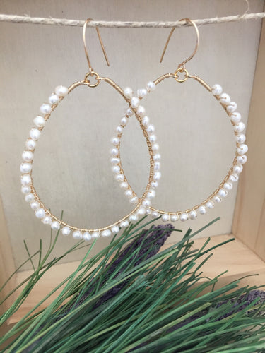 Large Gold Fill Hoop earrings with Freshwater Pearls Wire Wrapped all around
