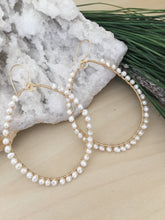 Load image into Gallery viewer, Large white freshwater Pearl hoop earrings