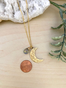 Labradorite and Crescent Moon pendant necklace
