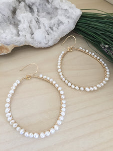 Wire wrapped white freshwater pearl hoop earrings gifts for her Bridal earrings