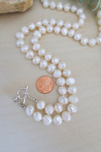 Hand knotted White Freshwater Pearl Necklace with toggle clasp