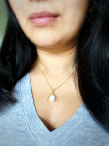Wish Bone Necklace with a  Freshwater Pearl Drop