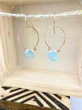 Load image into Gallery viewer, Aqua Blue Chalcedony and Pearl Inverted Hoop earrings - Gold fill