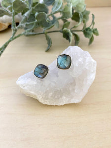 Labradorite studs on sterling silver posts - blue flash