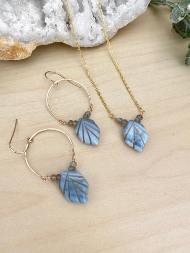 Blue Opal and Labradorite Necklace and Earring Gift Set - 14k gold filled