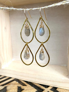 Raindrop earrings with Labradorite - 14k gold filled ear wires