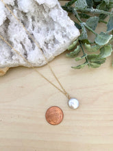 Load image into Gallery viewer, Small White Single Coin Pearl Necklace - Gold Fill or Sterling Silver