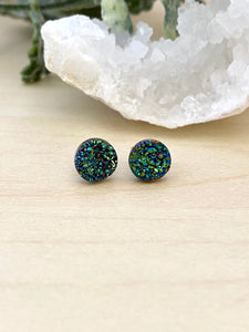 Green Druzy stud earrings on surgical steel posts