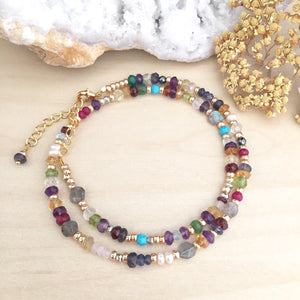 Colourful Confetti Choker - Mixed Gemstone Choker Necklace Adjustable 14 to 16 inches Bright pop of Color