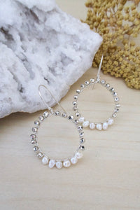 sterling silver hoop earrings with wire wrapped silver pyrite and white freshwater pearls