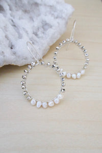 Hoop earrings sterling silver with pearls and silver pyrite wire wrapped beads