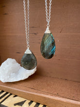 Load image into Gallery viewer, Large Labradorite Necklace wire wrapped in Sterling Silver