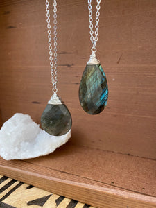 Large Labradorite Necklace wire wrapped in Sterling Silver