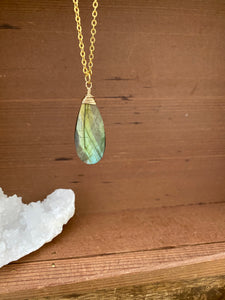 Unique Large Labradorite Gemstone Drop Necklace wire wrapped in Gold Filled Wire