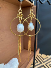 Load image into Gallery viewer, Brass and Freshwater Pearl Statement Earrings - Gold Filled Ear Wires