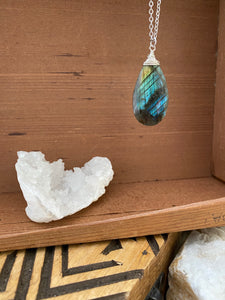 Large Labradorite Necklace on a long 28 inch Chain