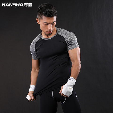 NANSHA Brand Crossfit Men Tee Shirts 2017 Summer Raglan Sleeve Shirts Men T Shirt Gyms Muscle Fitness Tops Tees Black and White