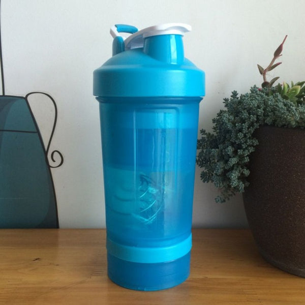 500ml Three layers shaker my water bottle Food Grade Plastic botella de agua Fitness Bike sport whey protein shaker bottle drink